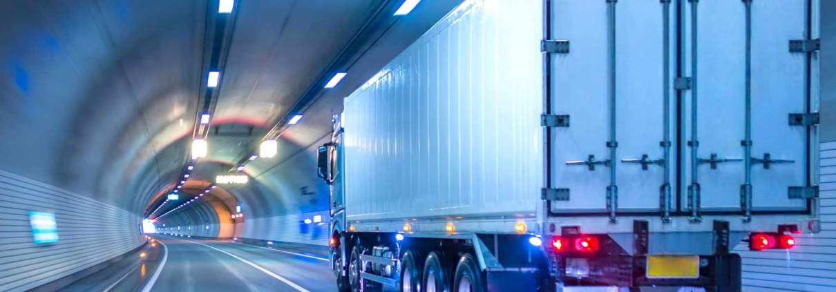 Truck travelling in a tunnel.